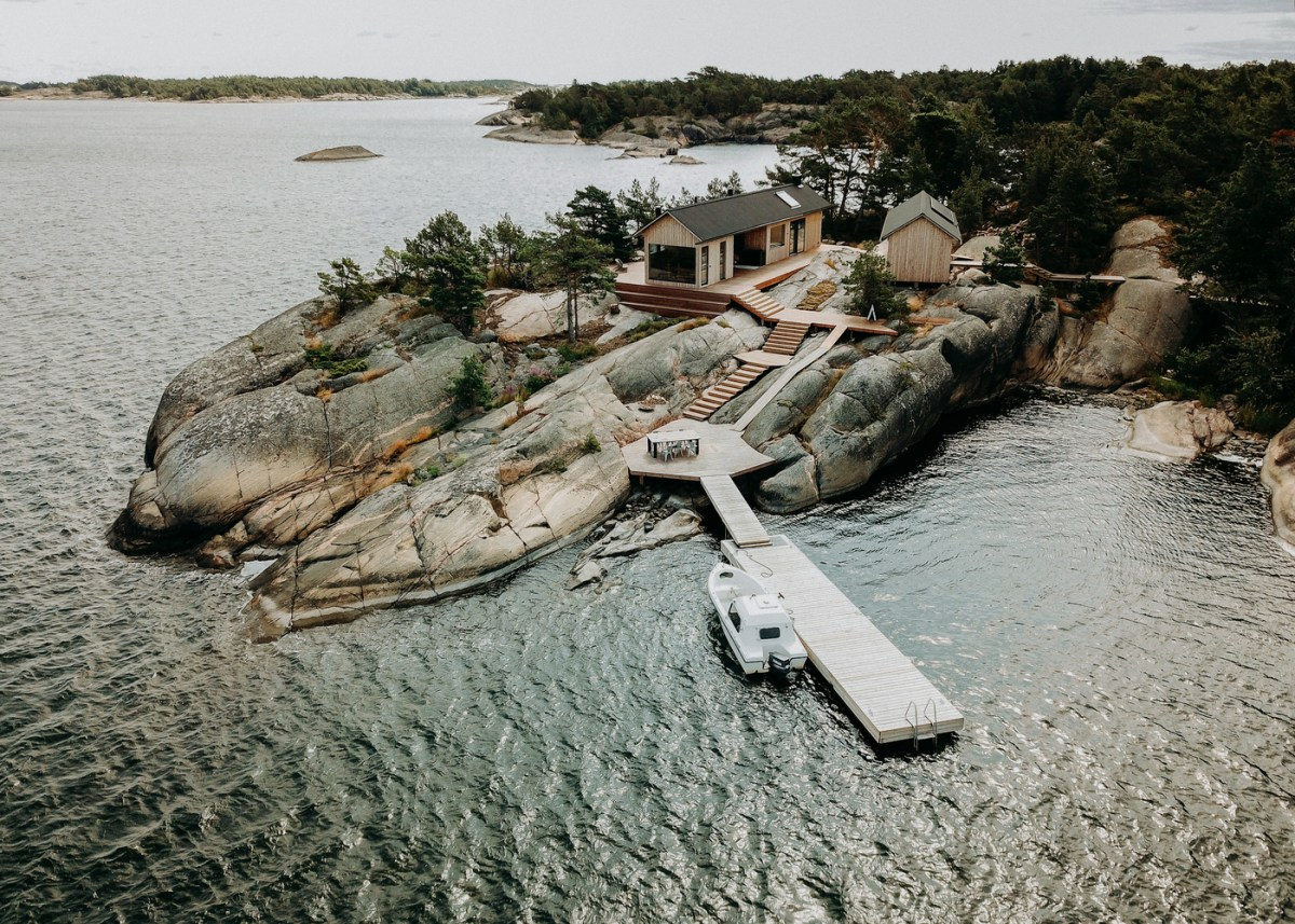 Aerial view of Nordic Island with a dock