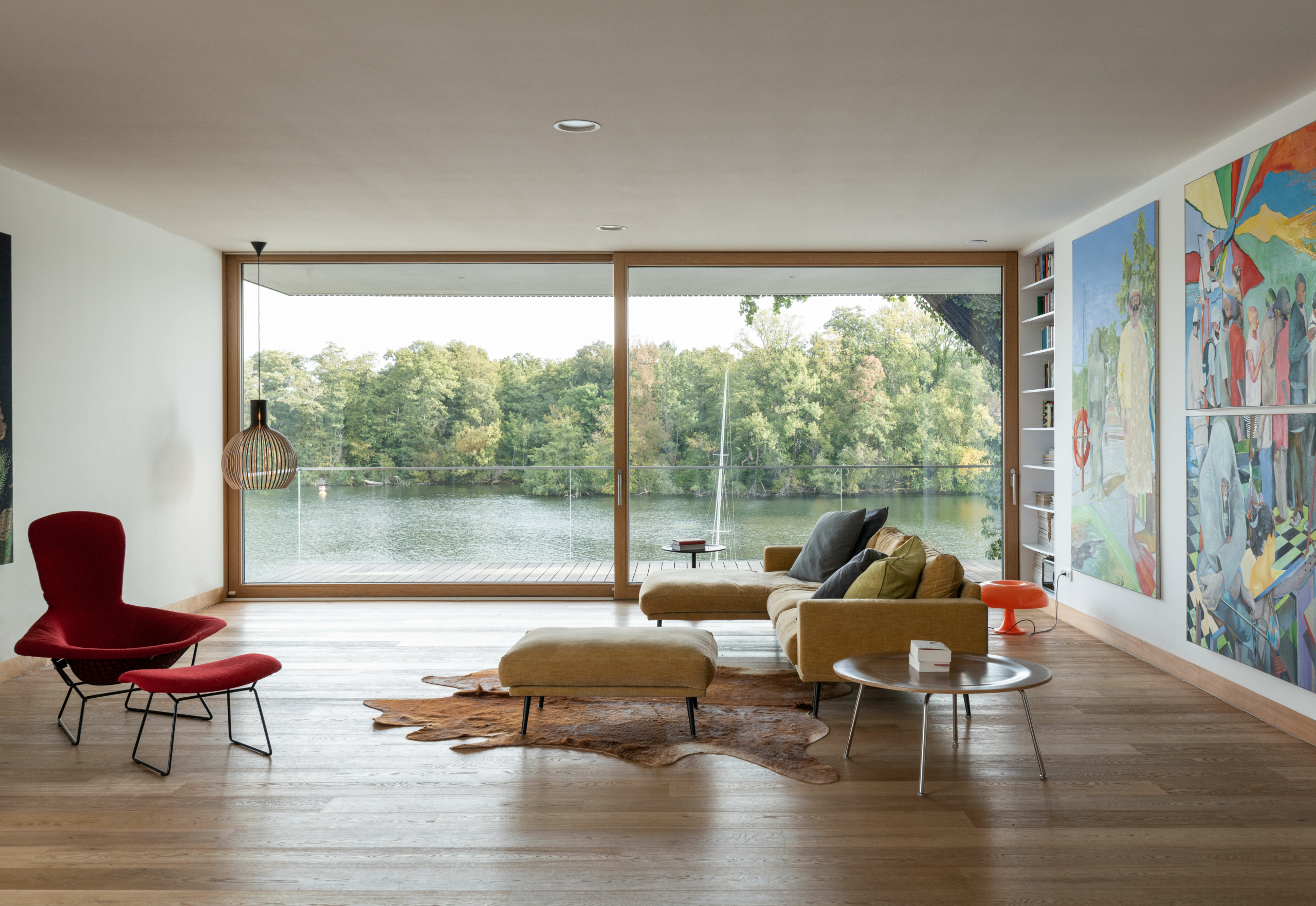 Living room of house by the lake